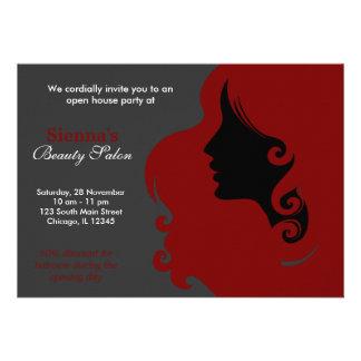 Friseur dunkelrot individuelle einladungskarte