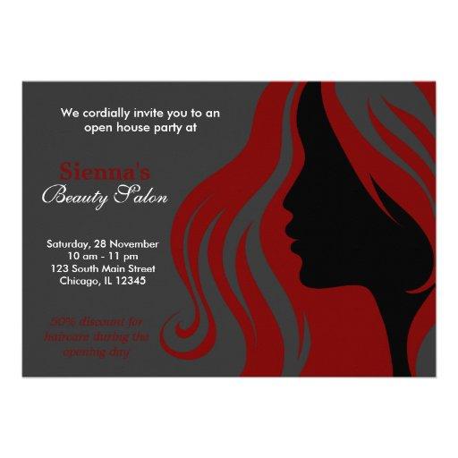 Friseur (dunkelrot) einladungskarten