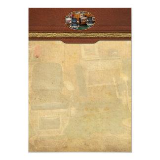Friseur - Frenchtown, NJ - zwei alte Frisierstühle 12,7 X 17,8 Cm Einladungskarte