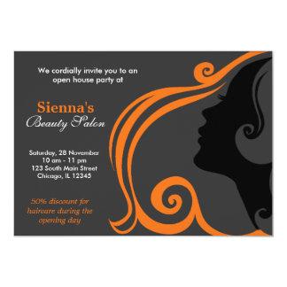 Friseur (orange) 12,7 x 17,8 cm einladungskarte