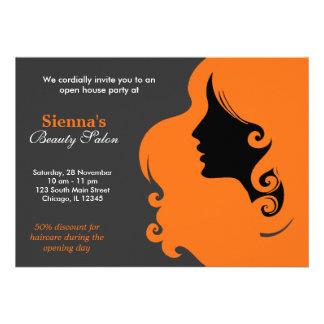 Friseur orange individuelle einladungskarte