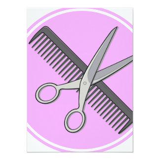 Friseur Scissor und kämmen 14 X 19,5 Cm Einladungskarte
