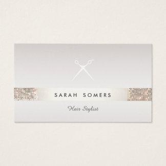 Friseur Scissors Logo IMITAT silbernen SequinTaupe Visitenkarte