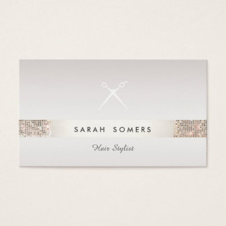 Friseur Scissors Logo IMITAT silbernen SequinTaupe Visitenkarten