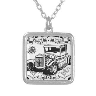 Frisiertes Auto - antike Gewohnheiten (Schwarzes) Halskette Mit Quadratischem Anhänger