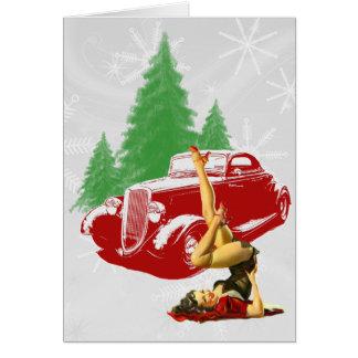 Frisiertes Auto u. Button herauf Weihnachten Karte