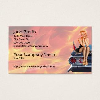 Frisiertes Autopinup-Mädchen mit Flammen Visitenkarte