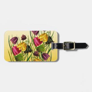Fritillaria-Blumen auf Gelb Gepäckanhänger
