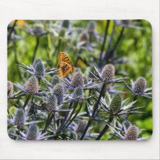 Fritillary-Schmetterling auf blauer Distel Mousepad