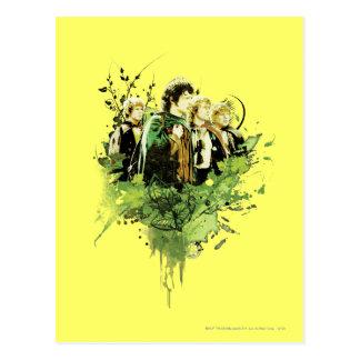 FRODO™ mit Hobbits vektorcollage Postkarte