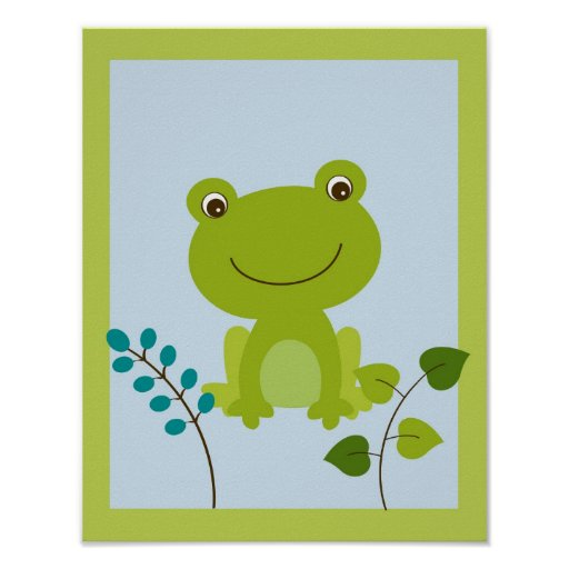 froggy frosch jungen kinderzimmer wand kunst druck poster zazzle. Black Bedroom Furniture Sets. Home Design Ideas