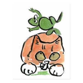Froggy springt über das Kätzchen Postkarte