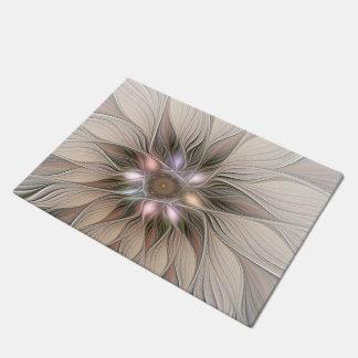 Frohe Blumen-abstraktes beige BrownblumenFraktal Doormat