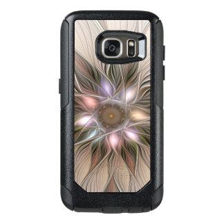 Frohe Blumen-abstraktes beige BrownblumenFraktal OtterBox Samsung Galaxy S7 Hülle