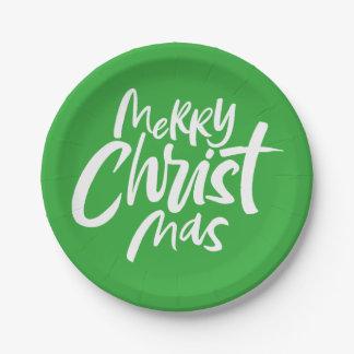 Frohe christliche Weihnachten, die religiöses Gree Pappteller