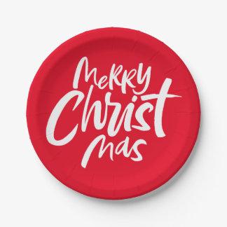 Frohe christliche Weihnachten, die religiöses Rot Pappteller