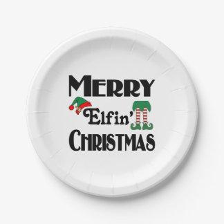 Frohe Elfin Weihnachten Pappteller