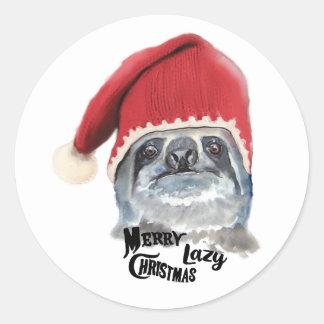 Frohe faule Weihnachten Runder Aufkleber