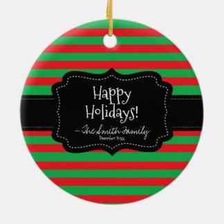 Frohe Feiertage. Abzeichen-u. Weihnachtsstreifen Keramik Ornament