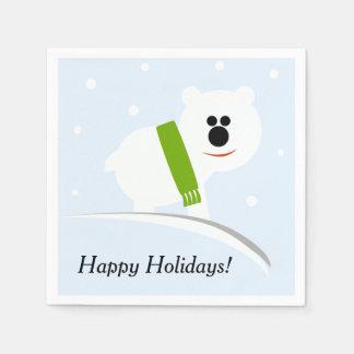 Frohe Feiertage Baby-Eisbär-Papierservietten Serviette