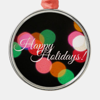 Frohe Feiertage bunte Lichter! Rundes Silberfarbenes Ornament