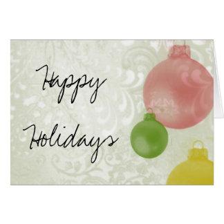 Frohe Feiertage: Bunte Weihnachtsverzierungen Karte