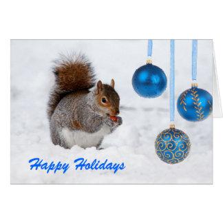 Frohe Feiertage Eichhörnchen-Weihnachtskarte Grußkarte