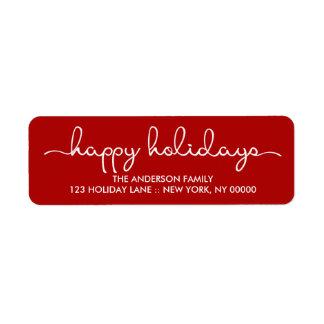 Frohe Feiertage einfache rote Hand beschrifteter