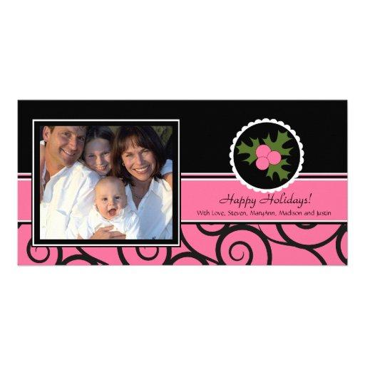 Frohe Feiertage einzigartige rosa u. schwarze Stec Foto Grußkarte