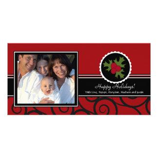 Frohe Feiertage einzigartige rote u. schwarze Stec Bildkarte