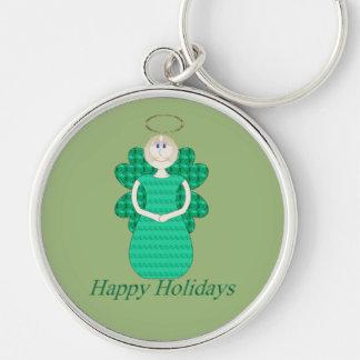 Frohe Feiertage Engel Silberfarbener Runder Schlüsselanhänger