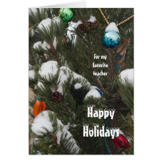 Frohe Feiertage für meine Lehrer-Kiefer mit Schnee Karte