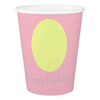 Frohe Feiertage gelbes Ei-Papierschale Pappbecher