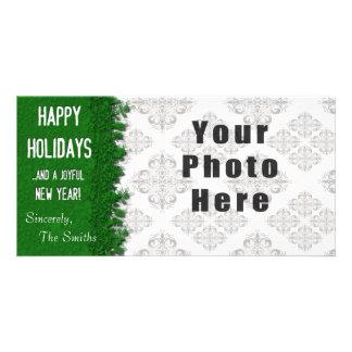 Frohe Feiertage grüne Schneeflocke Karte