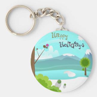 Frohe Feiertage Keychain Standard Runder Schlüsselanhänger