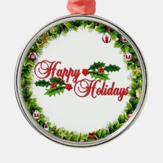 Frohe Feiertage Kranz-Prämien-Verzierung Silbernes Ornament