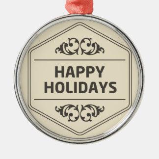 Frohe Feiertage kundenspezifischer Hintergrund Rundes Silberfarbenes Ornament