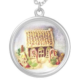 Frohe Feiertage Lebkuchen-Haus-Halskette Versilberte Kette