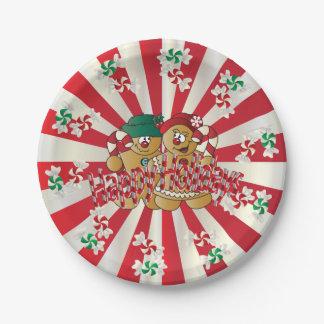 Frohe Feiertage Lebkuchen-Paare Pappteller