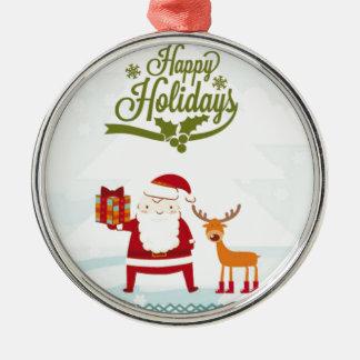 Frohe Feiertage mit Weihnachtsmann und Rudolf Rundes Silberfarbenes Ornament