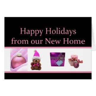 Frohe Feiertage - neue Adressen-Weihnachtskarte Karte