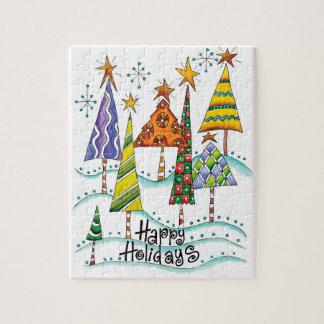 Frohe Feiertage! Niedliche Weihnachtsbäume mit Puzzle
