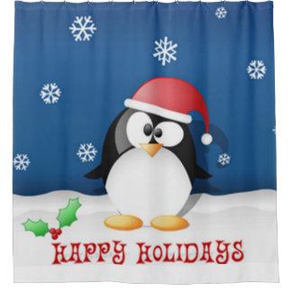 Frohe Feiertage Pinguin Duschvorhang