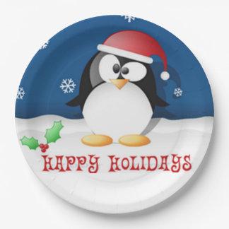 Frohe Feiertage Pinguin Pappteller