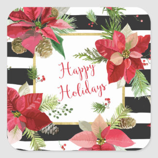 Frohe Feiertage Poinsettias, schwarze Quadratischer Aufkleber