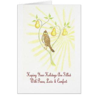 Frohe Feiertage Rebhuhn in einem Birnen-Baum-Gruß Karte