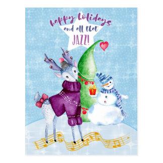Frohe Feiertage Ren mit Strickjacke-Postkarte Postkarte