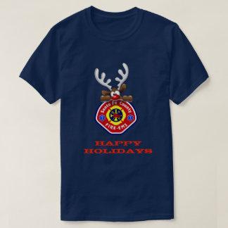 Frohe Feiertage Ren Santa Fe County Feuer-EMS T-Shirt