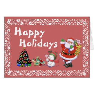 Frohe Feiertage Sankt und wenig Snowboy Karte