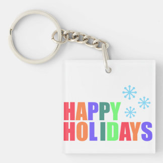 Frohe Feiertage Einseitiger Quadratischer Acryl Schlüsselanhänger